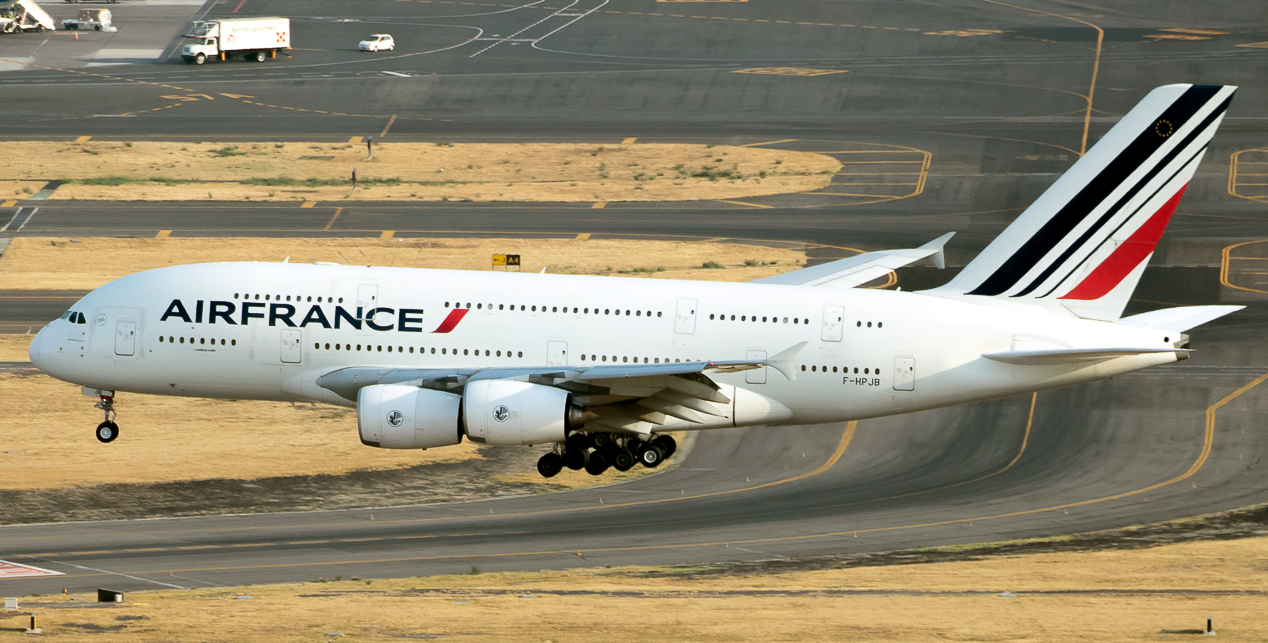 Airbus A380 Series of Air France Approaching Landing Runway