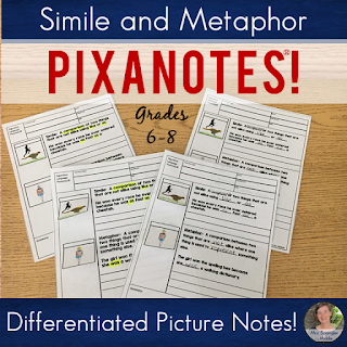 Interactive notebooks WITH structure?  Yes, that's Pixanotes®!  Try the simile and metaphor set for FREE!  #teaching #middleschool #languagearts