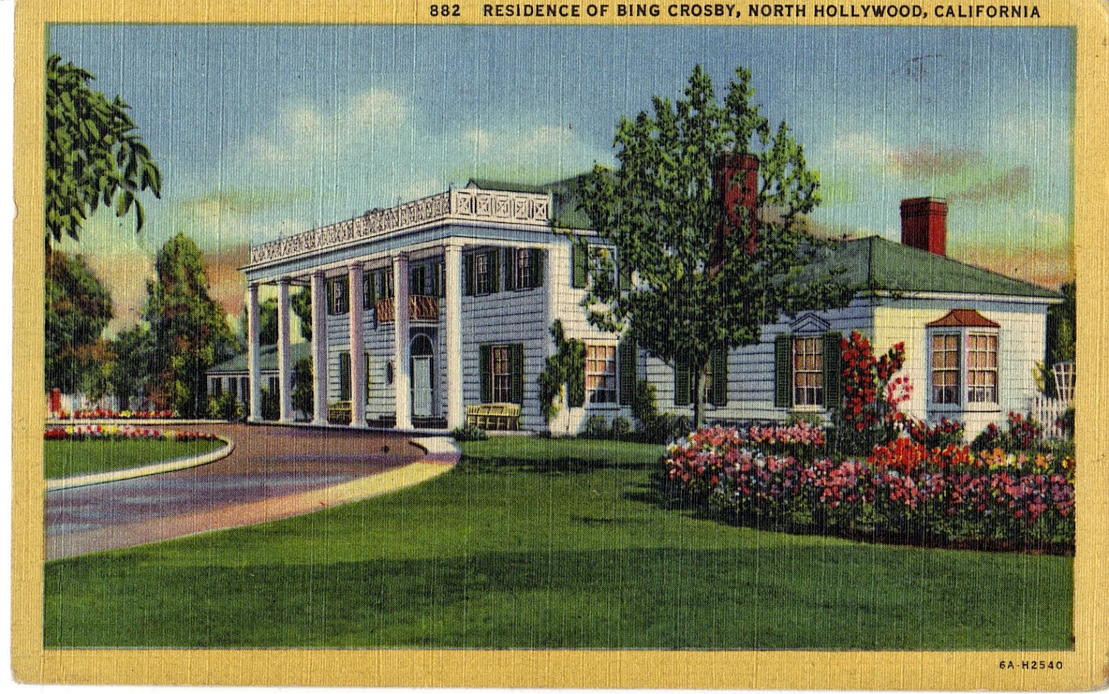 Bing Crosby Home In North Hollywood Postcard San