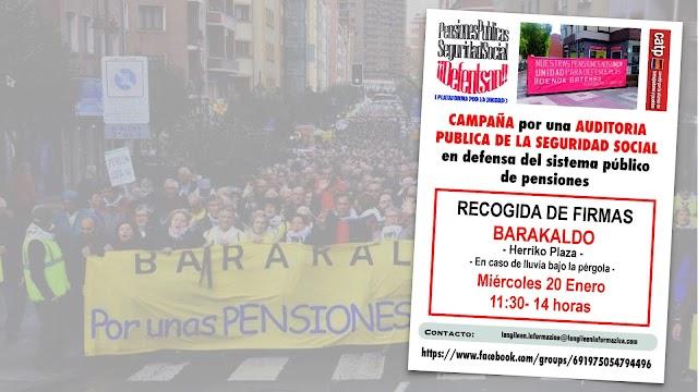 """La Plataforma de Pensionistas de Barakaldo recoge firmas """"por una auditoría pública de la Seguridad Social"""""""