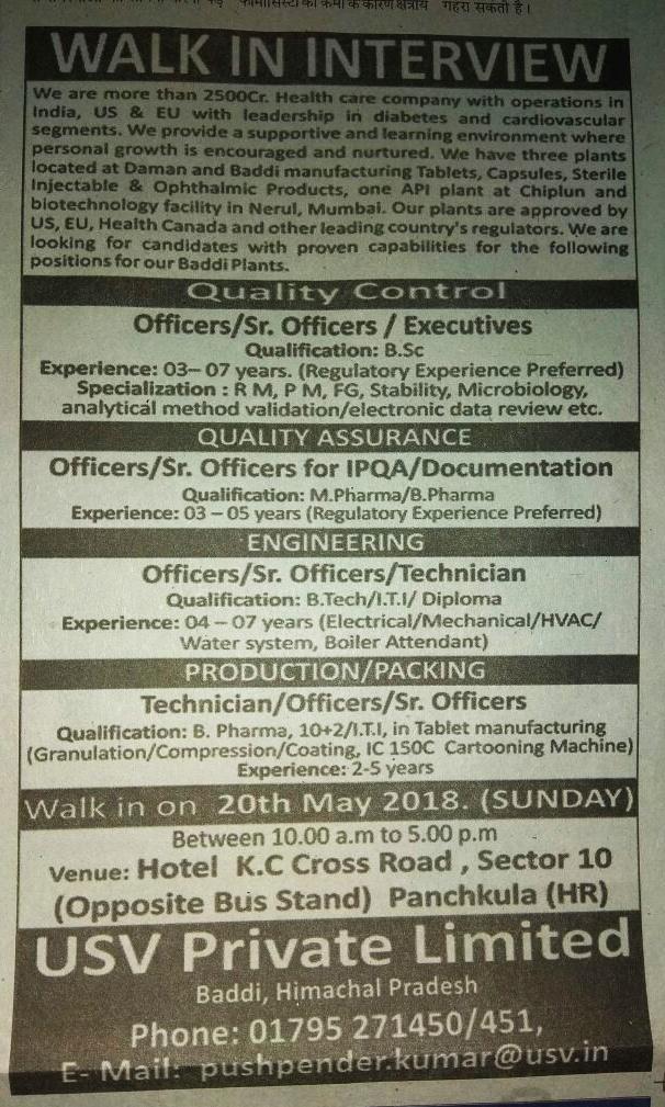 USV private Limited job