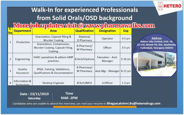Hetero Labs walk-in interview for multiple positions on 23rd Nov' 2019 @ Hyderabad