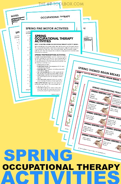 Spring fine motor activities, spring gross motor skills, visual motor skills, handwriting, sensory processing, and strengthening are just some of the ways to use a spring theme in occupational therapy.