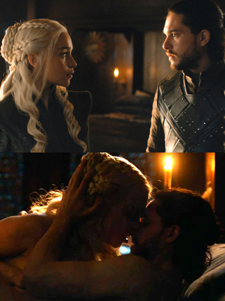 Game of thrones 7 сезон Джон и Денерис любовна сцена