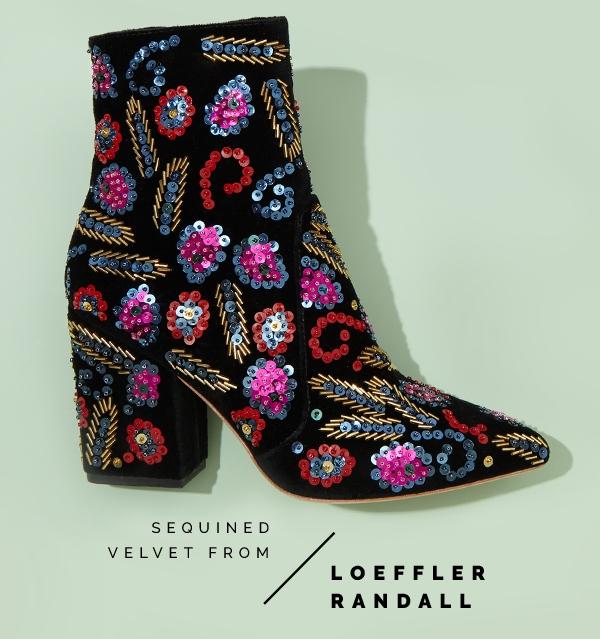 Velvet booties featuring sequin appliques