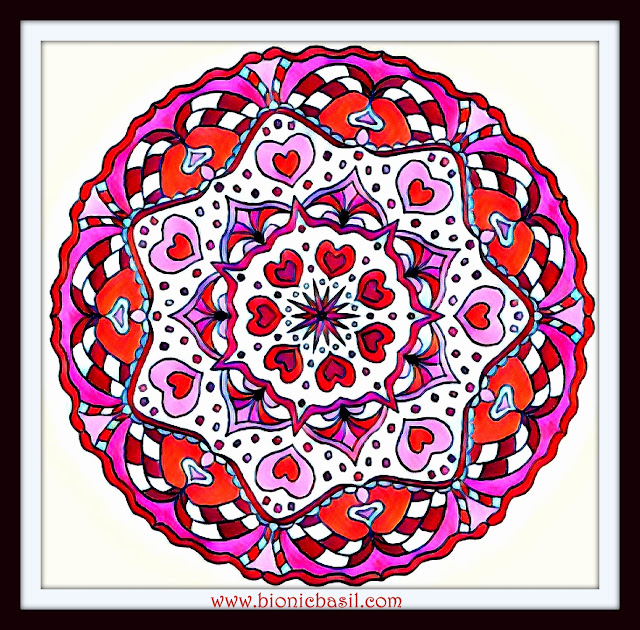 Mandalas on Monday ©BionicBasil® Colouring With Cats Mandala #94 coloured by Cathrine Garnell