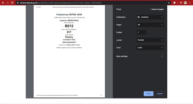nomor antrian daftar online pueskesmas di Depok