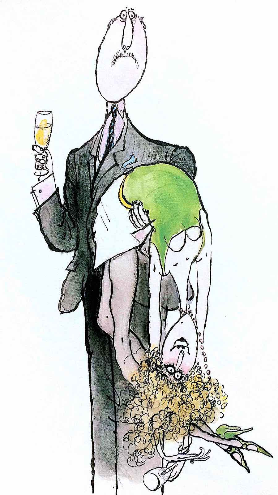 Ronald Searle, a sober man carrying his drunk woman