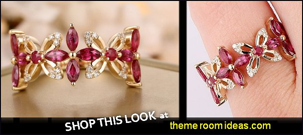 Ruby Diamonds 14K Yellow Gold Flower Design Ring