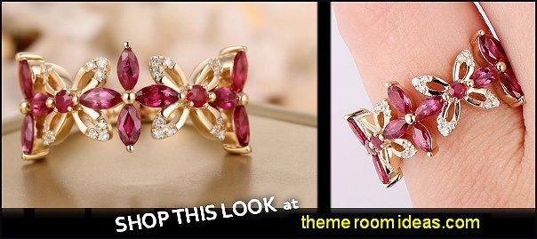 Ruby Diamonds 14K Yellow Gold Flower Design Ring