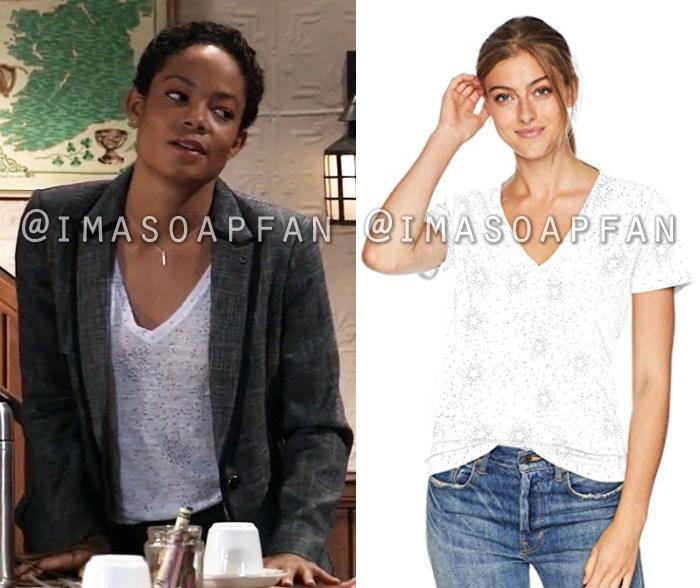 Valerie Spencer, Paulina Bugembe, White Star Print V-Neck Tee, General Hospital, GH