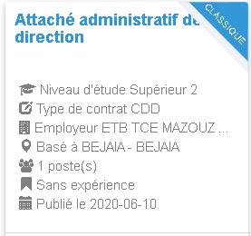 Attaché administratif de direction BEJAIA - BEJAIA