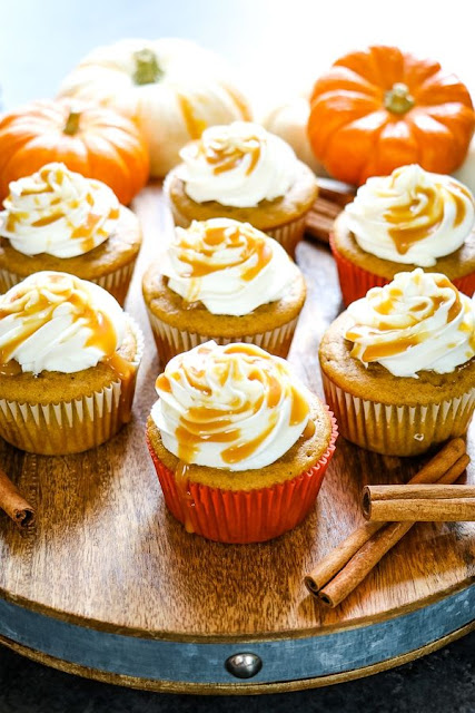Caramel Pumpkin Spice Cupcake Recipe with Cream Cheese Frosting