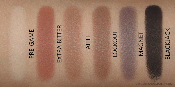 Urban Decay UD Naked Ultimate Basics Palette Swatches Pre-Game Extra Bitter Faith Lockout Magnet Blackjack
