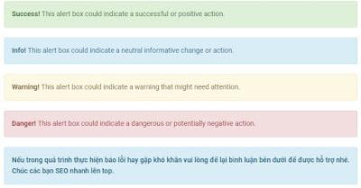 Tạo khung thông báo đẹp lấy từ thư viện Bootstrap