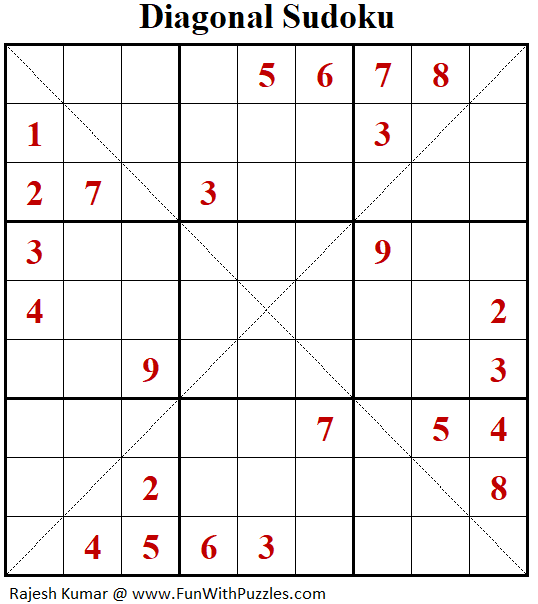Diagonal Sudoku Puzzle (Fun With Sudoku #321)