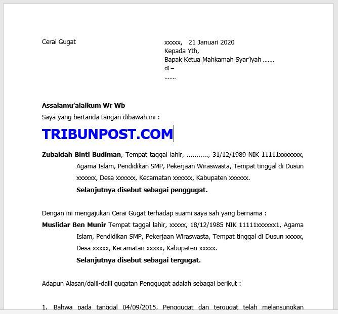 Contoh Surat Cerai Gugat Untuk Mahkamah Syar Iyah Contoh Surat