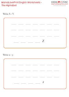 MamaLovePrint 英文工作紙 -  Alphabet Practice Exercise Learning Activities Kindergarten Worksheet Free Download 英文字母幼稚園工作紙