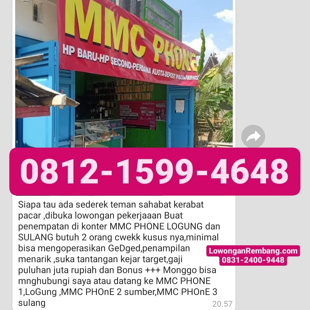 3 Lowongan Kerja Karyawati MMC Phone Logung Sumber Dan Sulang Tanpa Syarat Pendidikan