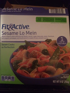 A poorly-lit image of Fit & Active Sesame Lo Mein, from Aldi