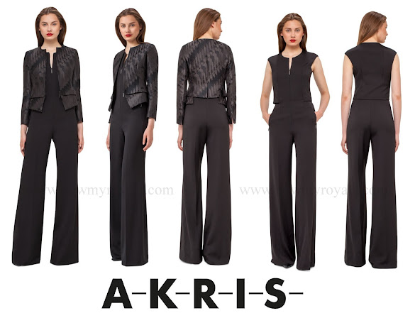 Princess Charlene wore Akris Ilka Jockey Jacquard Short Jacket and Akris Silk Crêpe Jumpsuit