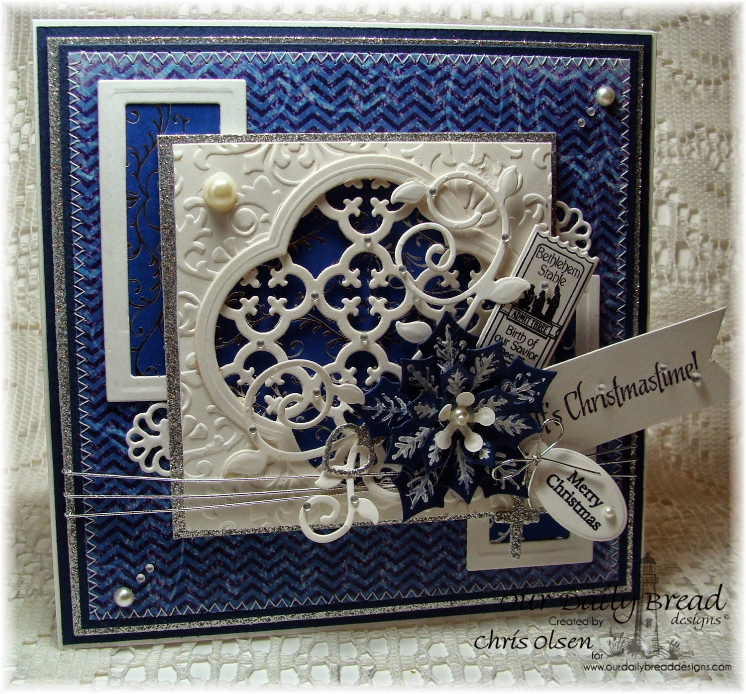 Our Daily Bread Designs, Admit Three, Mini tag sentiments, God's Timing, Peaceful Poinsettia die, Quatrefoil Pattern die, Quatrefoil Design die, Fancy Foliage die, Mini Tag dies, designer-Chris Olsen