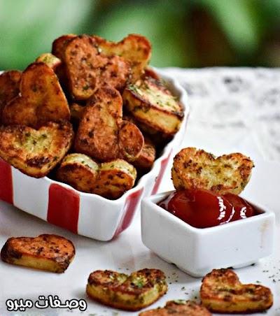 طريقة عمل قلوب البطاطس المشوية بالأعشاب لعيد الحب