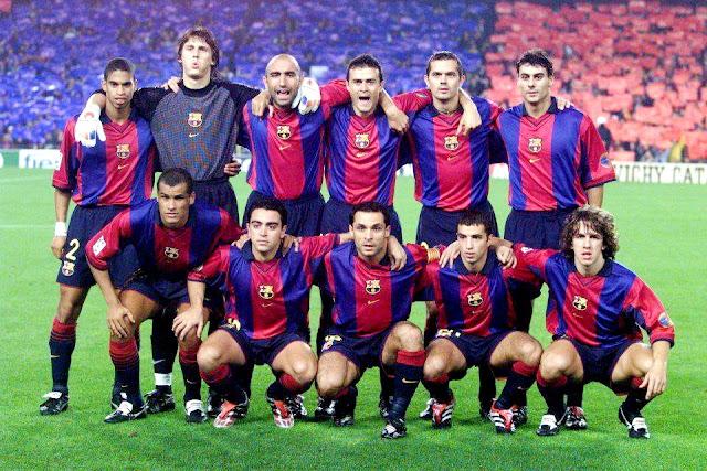 F. C. BARCELONA. Temporada 2000-01. Reiziger, Dutruel, Abelardo, Luis Enrique, Cocu, Dani. Rivaldo, Xavi, Sergi, Simao y Puyol. F. C. BARCELONA 2 REAL MADRID C. F. 0. 21/10/2000. Campeonato de Liga de 1ª División, jornada 6. Barcelona, Nou Camp, 100.000 espectadores. GOLES: 1-0: 26', Luis Enrique. 2-0: 79', Simão.