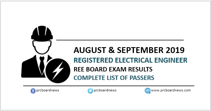REE List of Passers: August-September 2019 Electrical Engineering board exam result