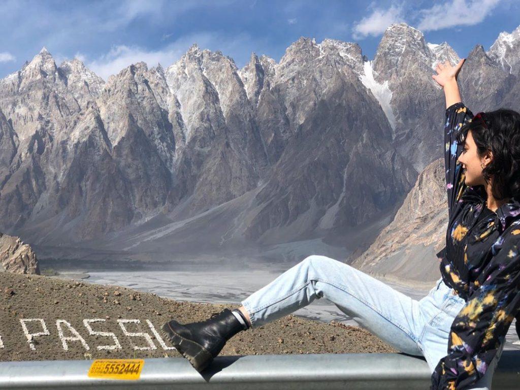 Eman Suleman Enjoying Mountain Views in Gilgit Baltistan