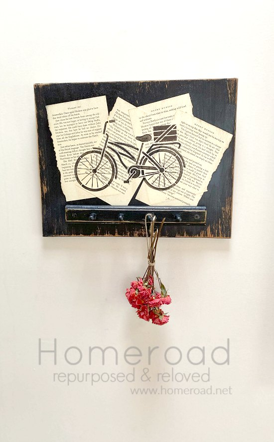 DIY Stenciled Bicycle drying rack for flowers