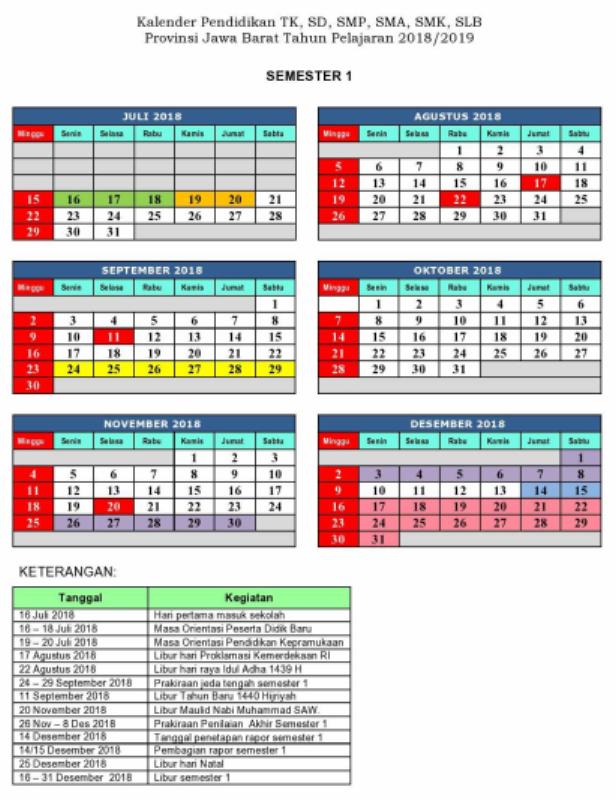 Kalender Pendidikan Jawa Barat 2018/2019