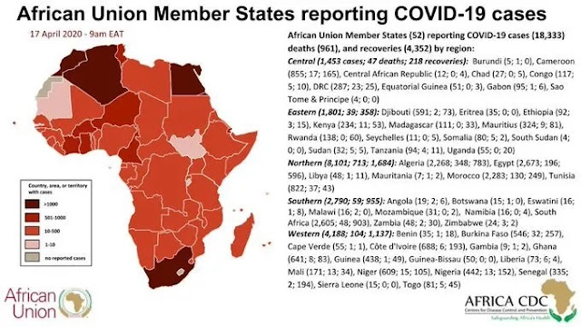 COVID-19: See The Two Countries In Africa With Highest Number Of Cases As Death Toll Hits 961
