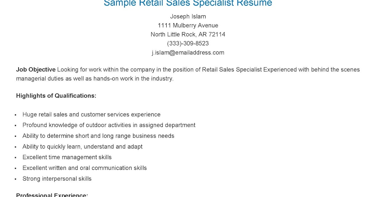 Resume Samples: Sample Retail Sales Specialist Resume