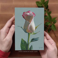 Pink Lace Rose 4x6 oil painting