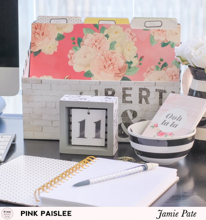 How to create desk decor using Pink Paislee's C'est La Vie | @jamiepate for @pinkpaislee