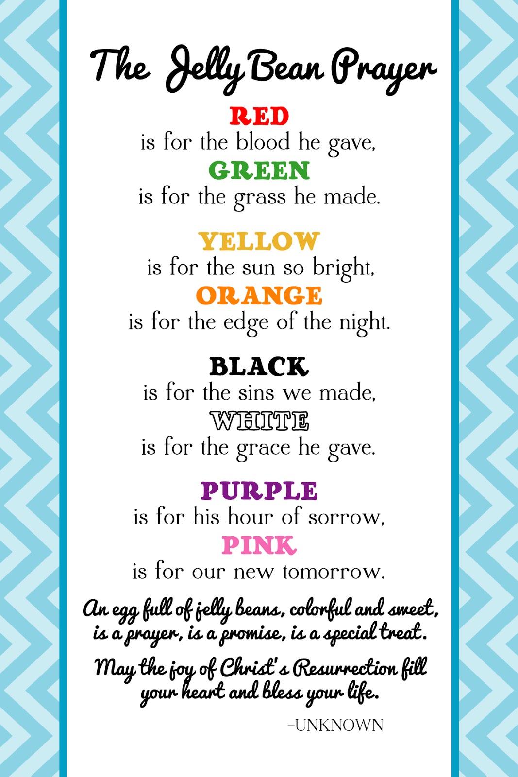 Free Printable Jelly Bean Prayer For Easter