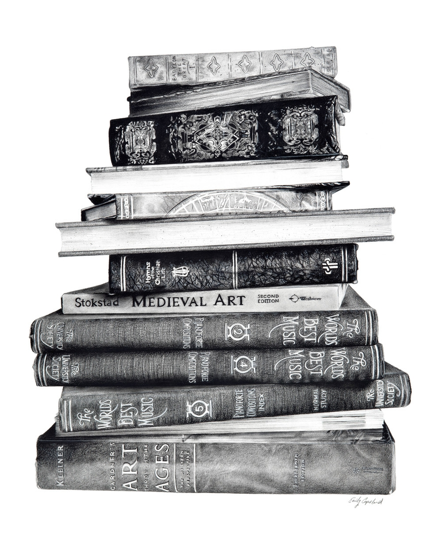 02-Antique-Books-Emily-Copeland-Vintage-and-Retro-Objects-in-Photo-Realistic-Drawings-www-designstack-co