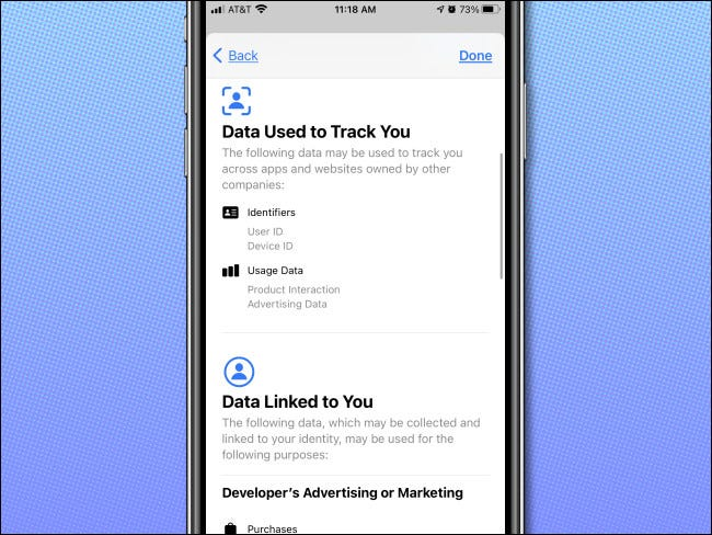 تفاصيل خصوصية App Store على iPhone