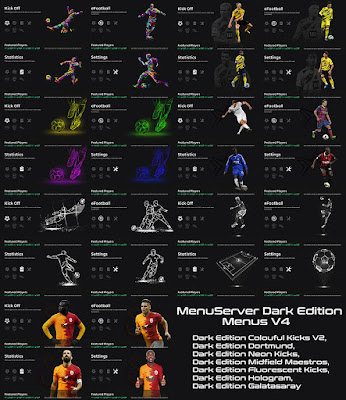 PES 2021 Dark Edition Team Menus V4 by Hawke