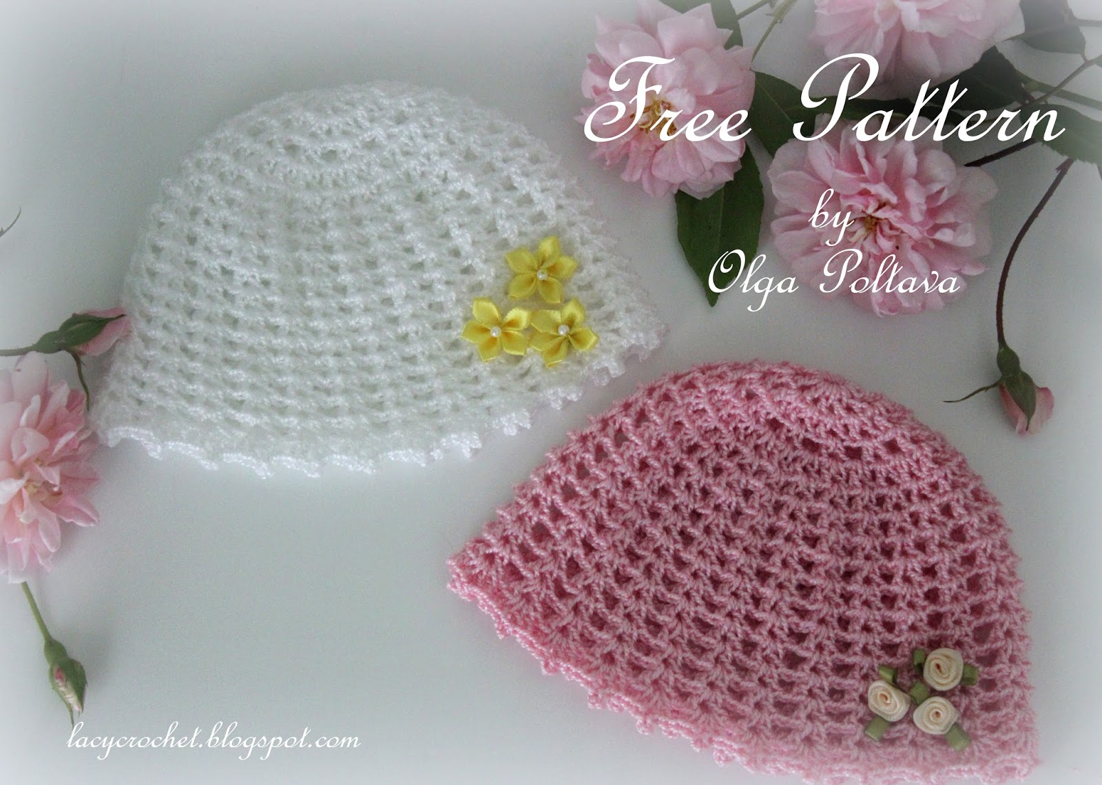 Crochet Patterns For Premature Babies : Lacy Crochet: Preemie Girls Baby Hat Free Crochet Pattern