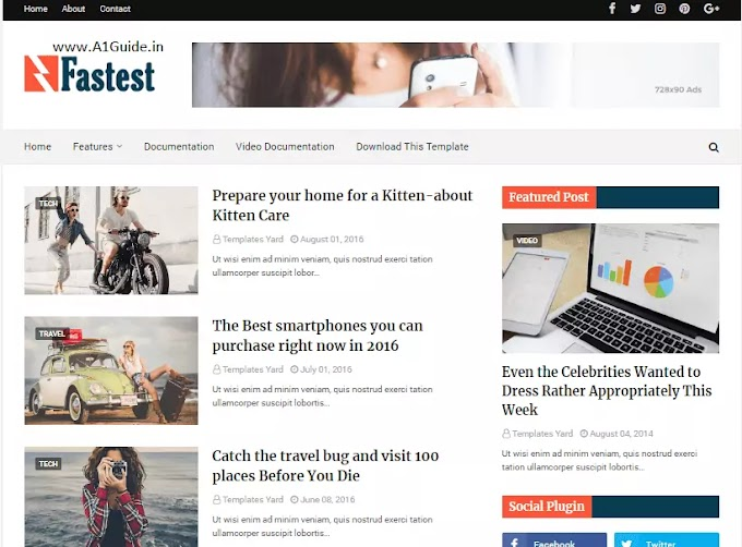 Free Premium Fastest Fast Loading Blogger Template