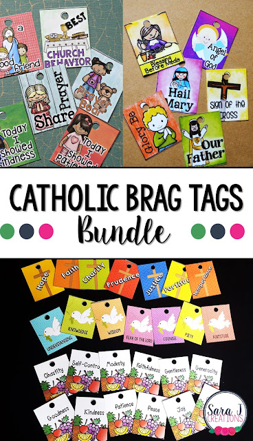 Catholic Brag Tags (The Bundle) are a great behavior management system for any Catholic school classroom, religious formation class, Sunday school etc.  A variety of tags including virtues, Catholic prayers, Catholic activities and more.
