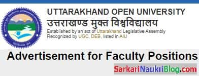 Faculty Vacancy Uttarakhand Open University