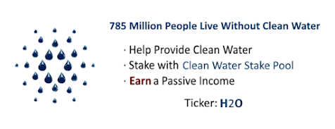Clean Water Stake Pool supports NGO clean water projects.