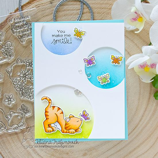 You Make Me Smile Circle Card by Tatiana Trafimovich | Newton's Flower Garden Stamp Set and Circle Frames Die Set by Newton's Nook Designs #newtonsnook #handmade