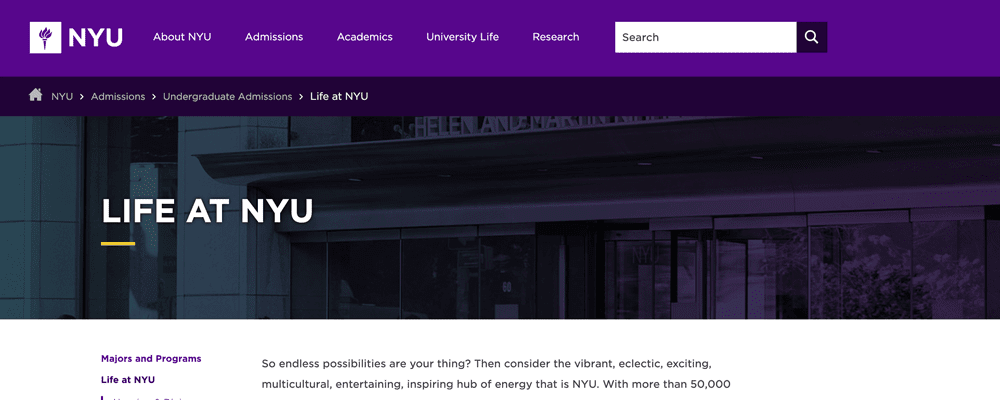 NYU website breadcrumb navigation