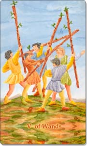 Five of Wands, www.aquatictarot.de