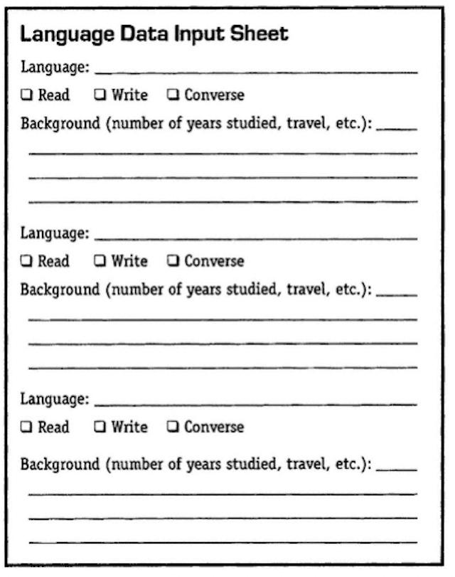 Language Data Input Sheet