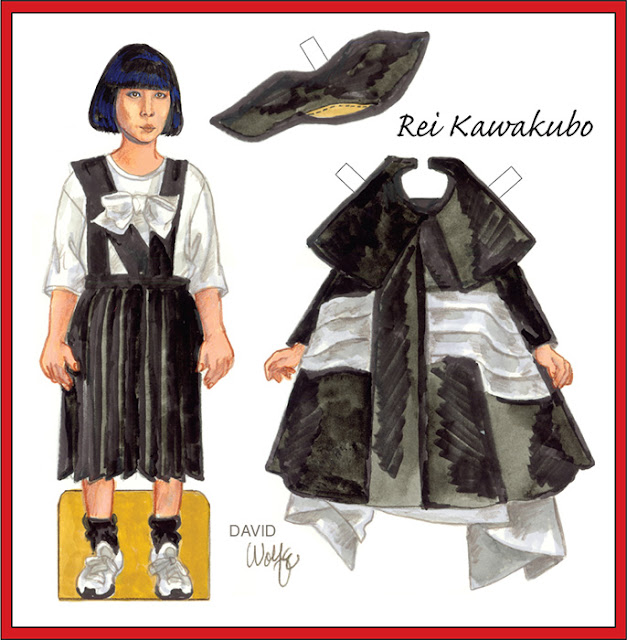 Paper doll of designer Rei Kawakubo by David Wolfe